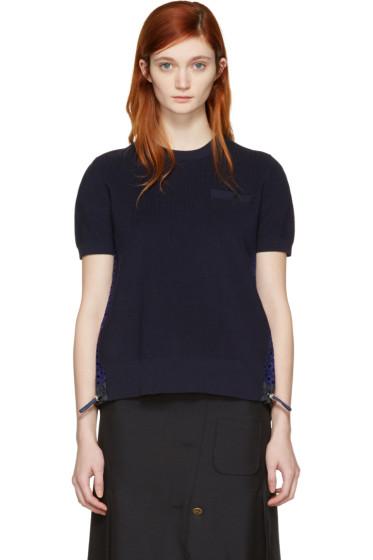 Sacai - Navy Dot Lace Pullover