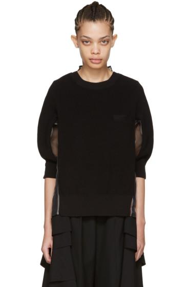 Sacai - Black Organza Striped Pullover
