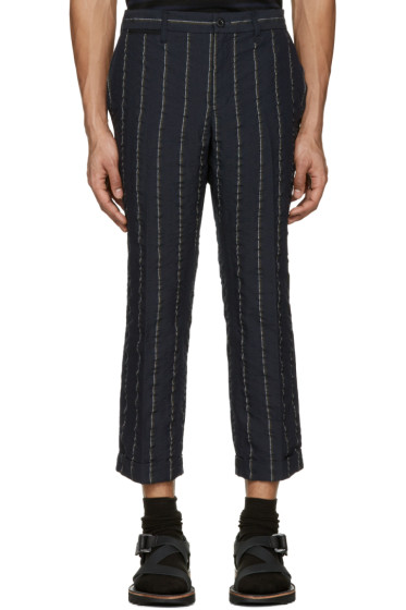 Sacai - Navy Striped Seersucker Trousers