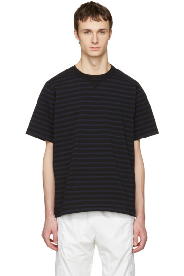 Sacai - Black Striped Dixie Border T-Shirt
