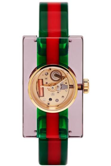 Gucci - Red & Green Plexiglass Skeleton Watch