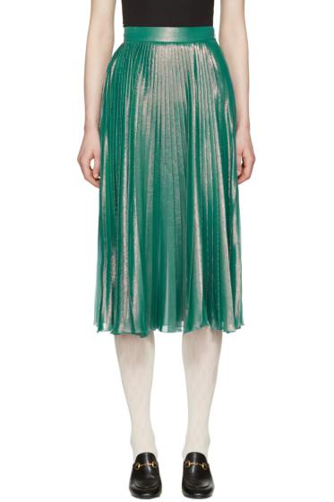 Gucci - Green Lurex Plissé Skirt