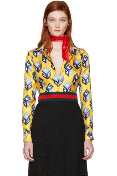 Gucci - Yellow 'Gucci Cube' Silk Shirt