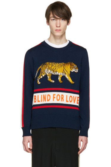 Gucci - Navy 'Blind for Love' Tiger Sweater