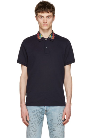Gucci - Navy Embroidered Polo