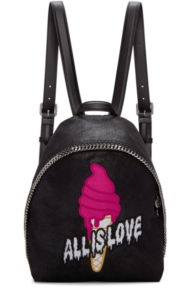 Stella McCartney - Black Small Falabella 'All is Love' Backpack