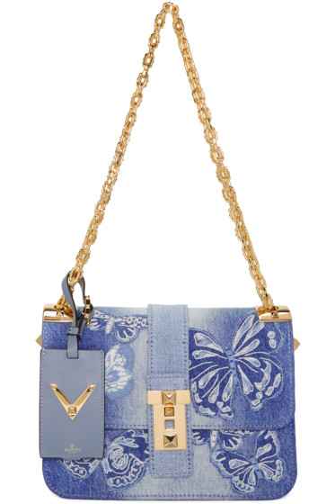Valentino - Sac en denim bleu Camubutterfly Rockstud