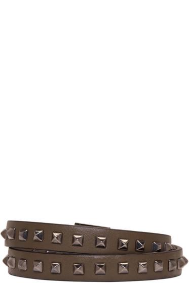Valentino - Green Mini Stud Double-Wrap Bracelet
