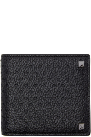 Valentino - Black Rockstud Bifold Wallet