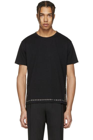 Valentino - ブラック アイレット T シャツ