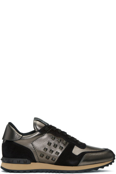 Valentino - ガンメタル & ブラック ロックスタッド スニーカー