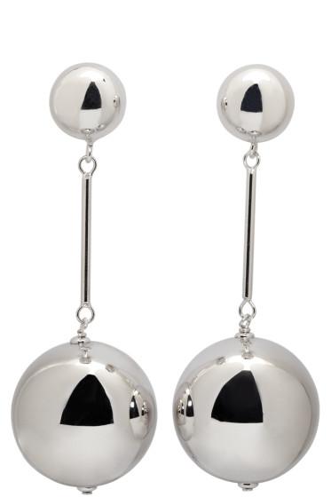 J.W.Anderson - Silver Sphere Drop Earrings