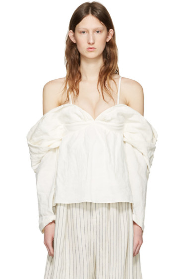 J.W.Anderson - Off-White Off-The-Shoulder Top