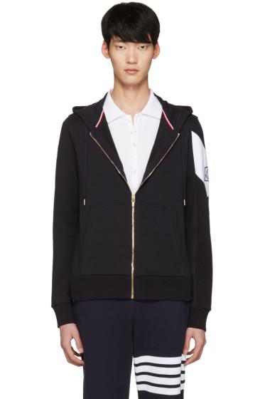 Moncler Gamme Bleu - Navy Contrast Sleeve Zip Hoodie
