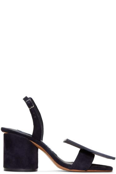 Jacquemus - Navy Suede 'Les Rond Carré' Sandals