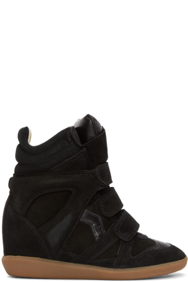 Isabel Marant - Black Suede Bekett Wedge Sneakers