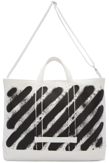 Off-White - White Diagonal Spray Tote