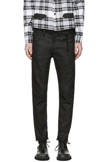 Off-White - Black Sprayed Diagonals Cropped Jeans