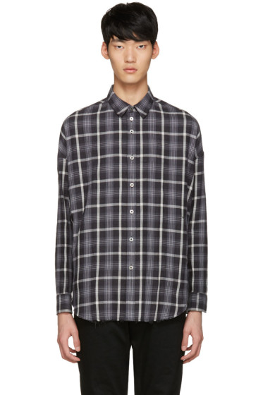 Diet Butcher Slim Skin - Black Oversized Check Shirt
