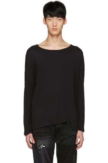 Diet Butcher Slim Skin - Black Asymmetric Loose Pullover