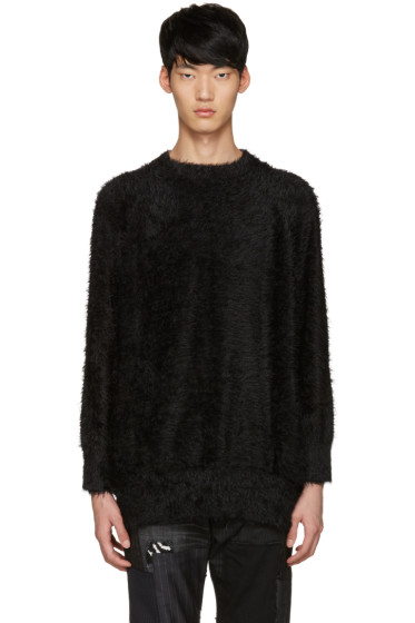 Diet Butcher Slim Skin - SSENSE Exclusive Black Shaggy Loose Pullover