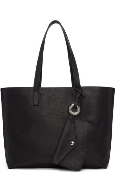 Jil Sander Navy - Black Leather Tote Bag