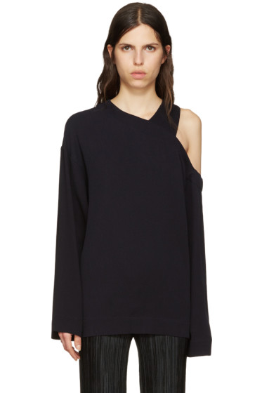 Nomia - Navy Cut-Out Shoulder Pullover