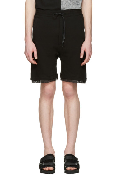 D by D - Black Mesh-Trimmed Lounge Shorts