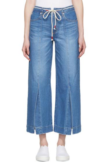 SJYP - Blue Wide Slit Jeans