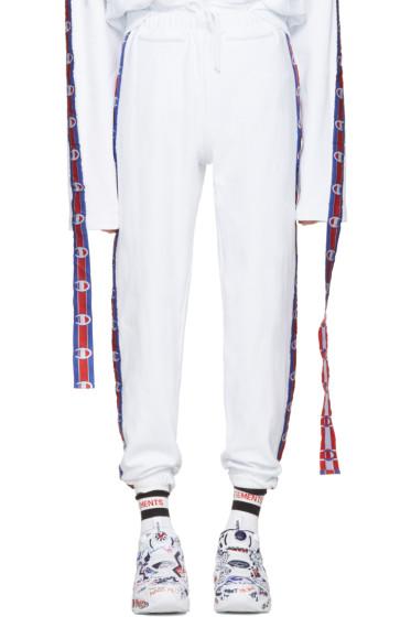 Vetements - White Champion Edition Tape Track Pants