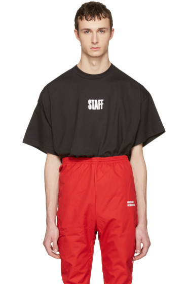 Vetements - Black Hanes Edition Quick Made Oversized 'Staff' T-Shirt
