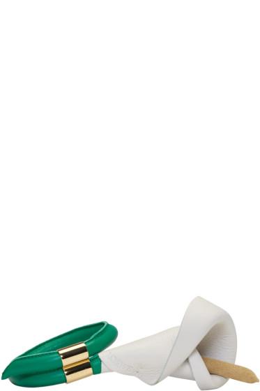 Loewe - ホワイト & グリーン カラ フラワー ブレスレット