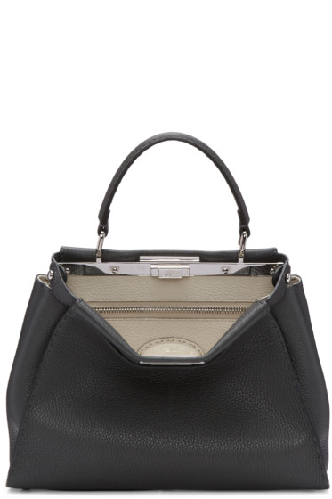 Fendi - Grey Regular Selleria Peekaboo Bag