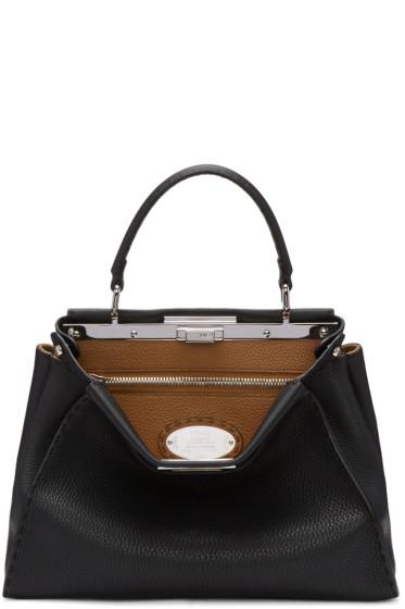 Fendi - Black Regular Selleria Peekaboo Bag