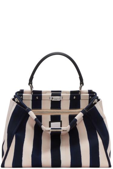 Fendi - Blue & White Canvas Regular Peekaboo Bag