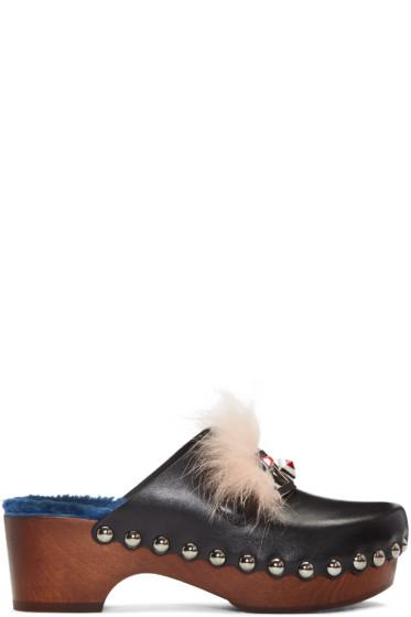 Fendi - Black 'Fendi Faces' Clog Heels