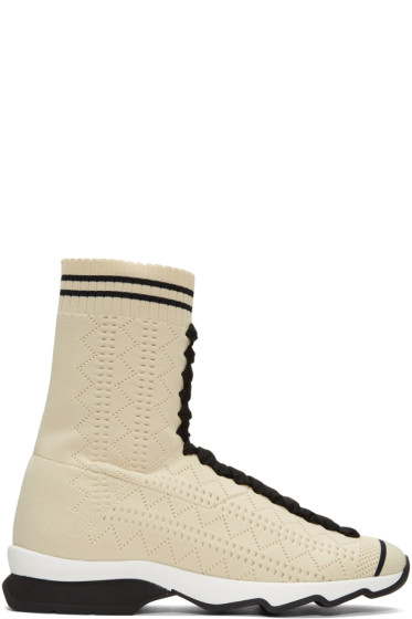 Fendi - Beige Sock High-Top Sneakers