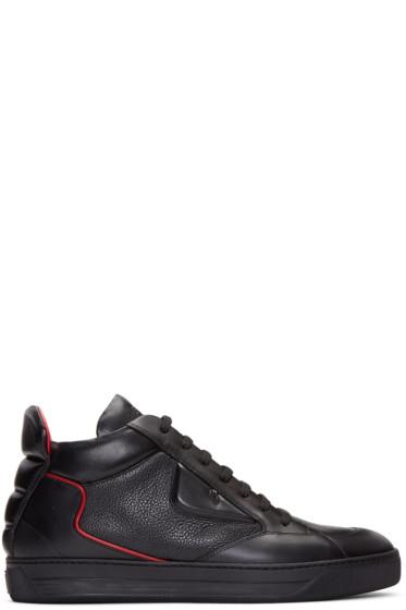 Fendi - Black 'Bag Bug' Mid-Top Sneakers