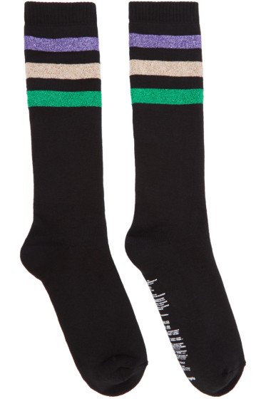 Palm Angels - Black Lurex Stripes Socks