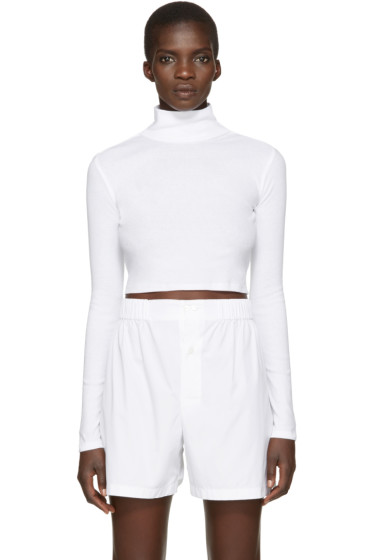 Rosetta Getty - White Cropped Turtleneck