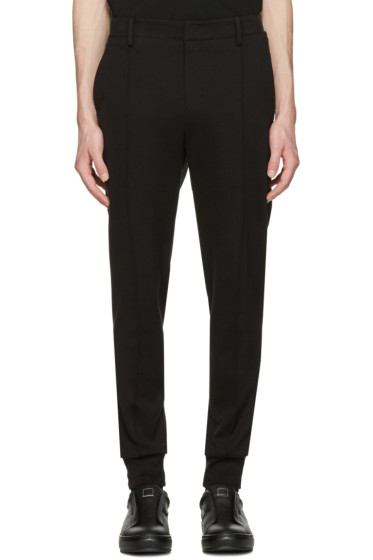 Wooyoungmi - Black Jersey Cuffed Trousers