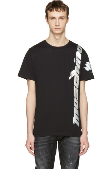 Moschino - Black Iridescent Lotus Logo T-Shirt