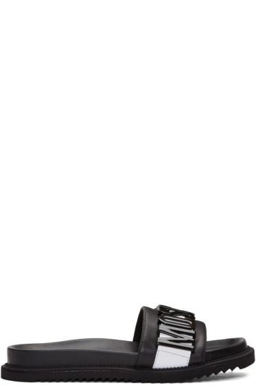 Moschino - Black Logo Slide Sandals