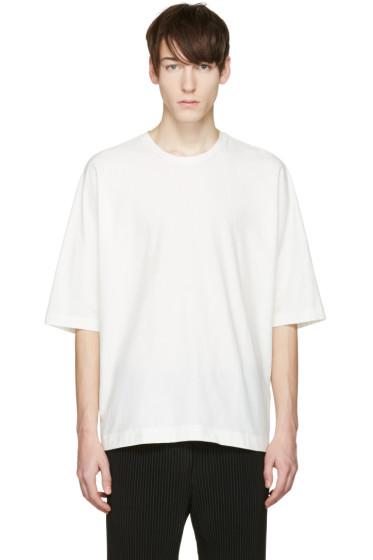 Homme Plissé Issey Miyake - White Oversized Bat Sleeve T-Shirt
