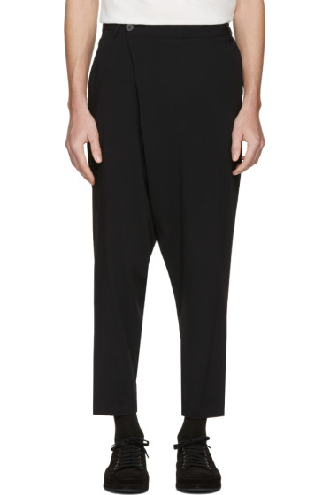 Isabel Benenato - Black Wrap Front Trousers