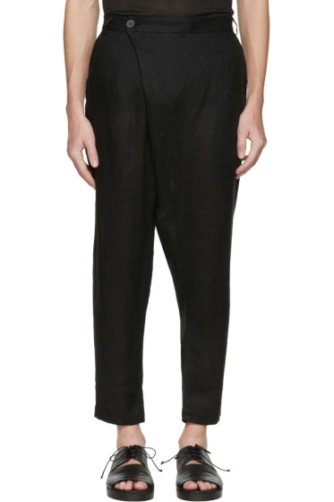 Isabel Benenato - Black Linen Wrap Front Trousers