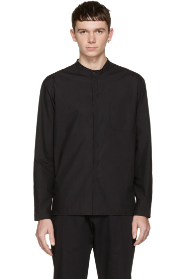 Isabel Benenato - Black Cut-Out Pocket Shirt