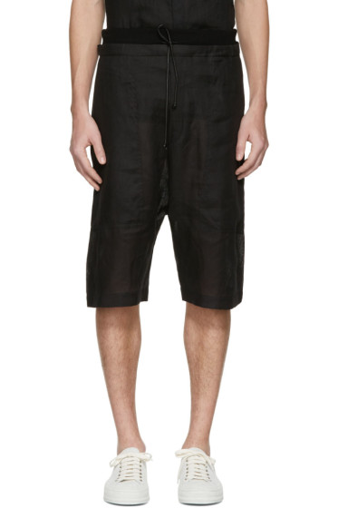 Isabel Benenato - Black Linen Shorts