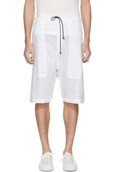 Isabel Benenato - White Linen Shorts