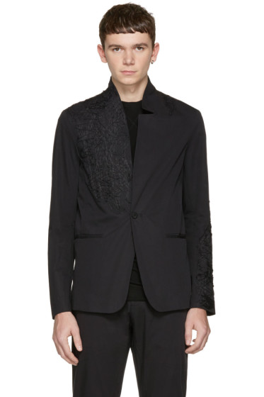 Isabel Benenato - Black Embroidered Blazer